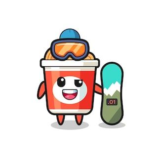 Illustration du personnage de nouilles instantanées avec style snowboard, design de style mignon pour t-shirt, autocollant, élément de logo