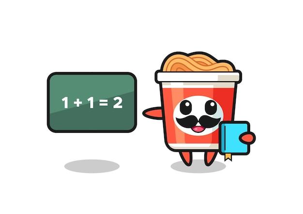 Illustration du personnage de nouilles instantanées en tant qu'enseignant, design de style mignon pour t-shirt, autocollant, élément de logo