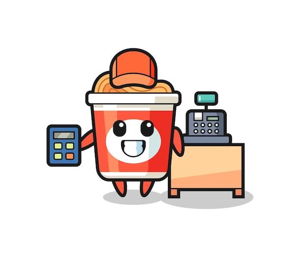 Illustration du personnage de nouilles instantanées en tant que caissier, design de style mignon pour t-shirt, autocollant, élément de logo