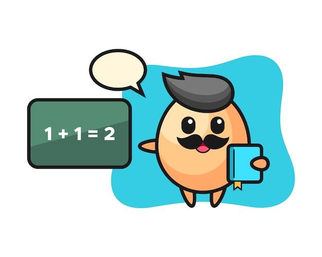 Illustration du personnage d'oeuf en tant qu'enseignant, conception de style mignon pour t-shirt, autocollant, élément de logo