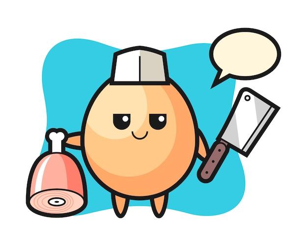 Illustration du personnage d'oeuf en tant que boucher, conception de style mignon pour t-shirt, autocollant, élément de logo