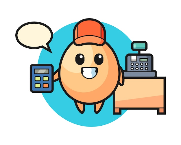 Illustration du personnage d'oeuf en tant que caissier, conception de style mignon pour t-shirt, autocollant, élément de logo