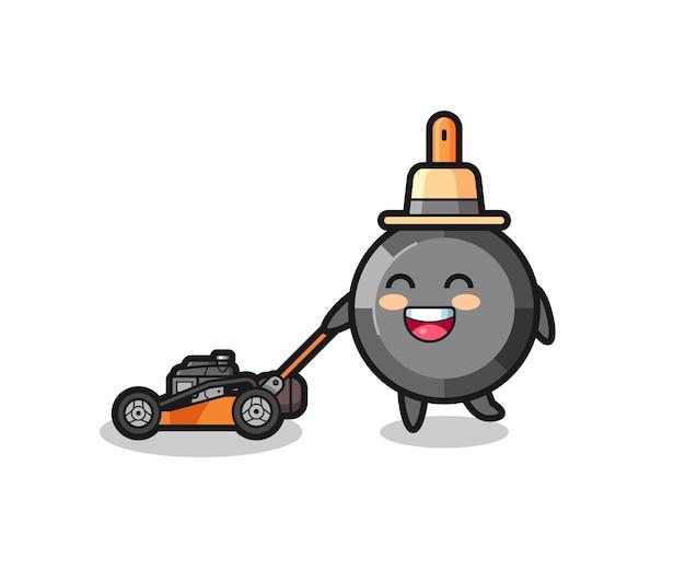 Illustration du personnage de la poêle à frire à l'aide d'une tondeuse à gazon, design de style mignon pour t-shirt, autocollant, élément de logo