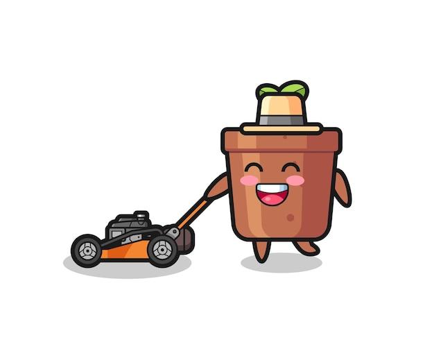 Illustration du personnage de pot de plante à l'aide d'une tondeuse à gazon, design de style mignon pour t-shirt, autocollant, élément de logo