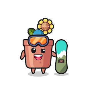 Illustration du personnage de pot de tournesol avec style snowboard, design de style mignon pour t-shirt, autocollant, élément de logo