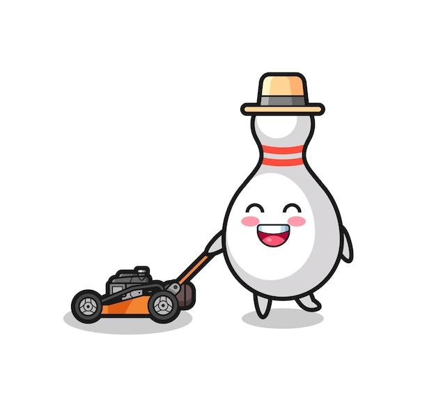 Illustration du personnage de quilles à l'aide d'une tondeuse à gazon, design de style mignon pour t-shirt, autocollant, élément de logo