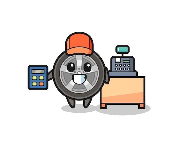 Illustration du personnage de roue de voiture en tant que caissier, design de style mignon pour t-shirt, autocollant, élément de logo