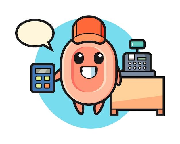Illustration du personnage de savon en tant que caissier, style mignon pour t-shirt, autocollant, élément de logo