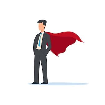 Illustration du personnage de super héros d'hommes d'affaires, homme de bureau homme super-héros