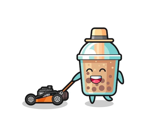 Illustration du personnage de thé à bulles à l'aide d'une tondeuse à gazon, design de style mignon pour t-shirt, autocollant, élément de logo