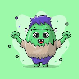 Illustration du personnage de zombie en forme d'oeuf mignon