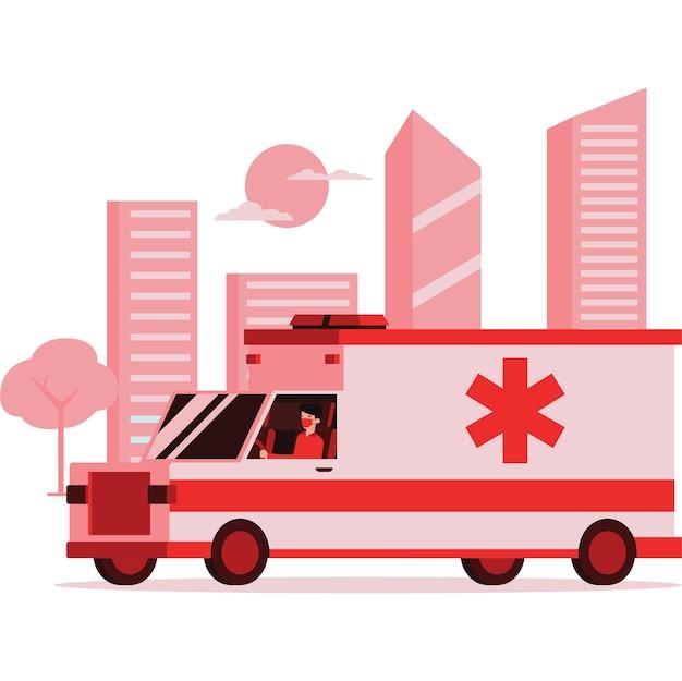 Illustration du personnel médical monté sur une ambulance sur la route