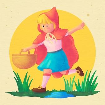 Illustration du petit chaperon rouge aquarelle peinte à la main