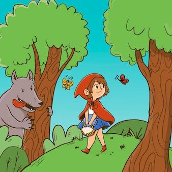 Illustration du petit chaperon rouge dessiné à la main