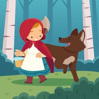 Illustration du petit chaperon rouge plat