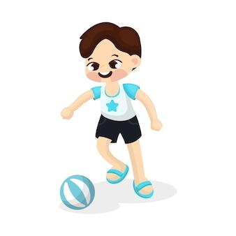 Illustration du petit garçon jouant au football avec style de bande dessinée