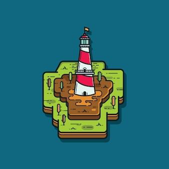 Illustration du phare dans l'île