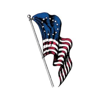 Illustration du premier drapeau des états-unis dans un style gravé. conception de vecteur du jour de l'indépendance.