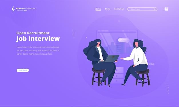 Illustration du processus d'entrevue de candidat à l'emploi sur la page de destination