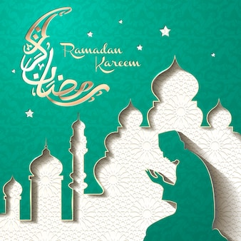 Illustration du ramadan et calligraphie arabe avec musulman en prière
