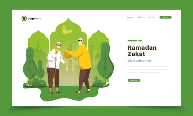 Illustration du ramadan islamique sur le ramadan zakat ou partager les uns avec les autres
