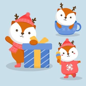 Illustration du renard de caractère animal avec boîte-cadeau