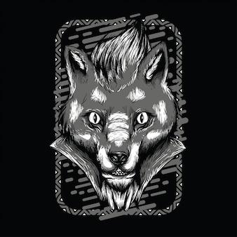 Illustration du renard vaudou en noir et blanc