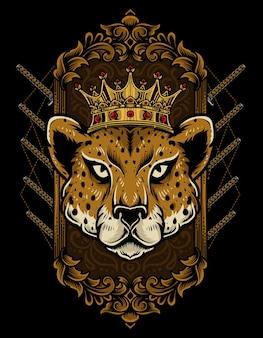 Illustration du roi guépard avec style d'ornement vintage