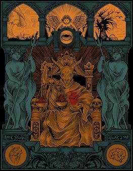 Illustration du roi satan sur le style d'ornement de gravure gothique