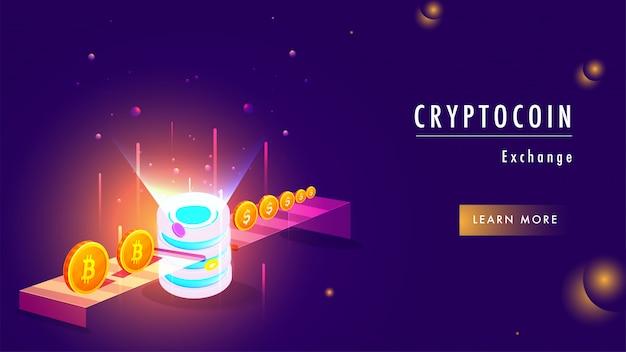 Illustration du serveur crypto, échange d'argent virtuel.