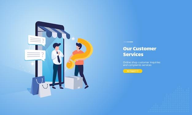 Illustration du service client de la boutique en ligne avec salutations aux clients
