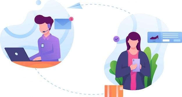 Illustration du service de commande client à plat