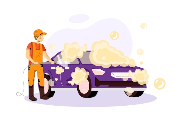 Illustration du service de lavage de voiture