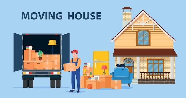 Illustration du service de livraison. déménagement.