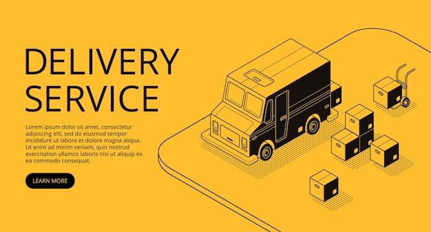 Illustration du service de livraison de dessins au trait mince dans un style demi-teinte isométrique noir.