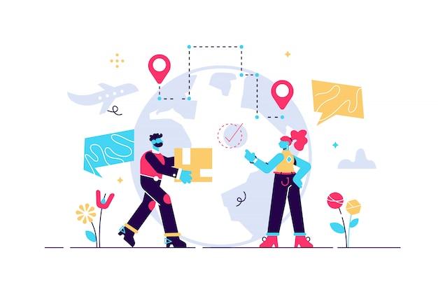 Illustration du service de livraison. petit concept de personnes de boîte d'expédition.