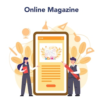 Illustration du service ou de la plate-forme en ligne de l'enseignant