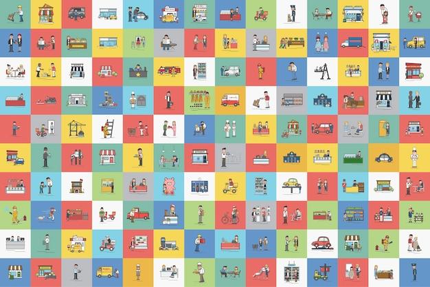 Illustration du set vector de petites entreprises