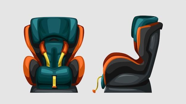 Illustration du siège bébé voiture coloré isolé sur blanc vue avant et latérale