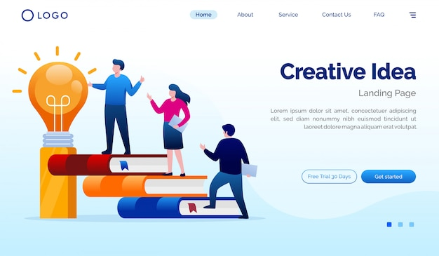 Illustration du site web creative idea landing page
