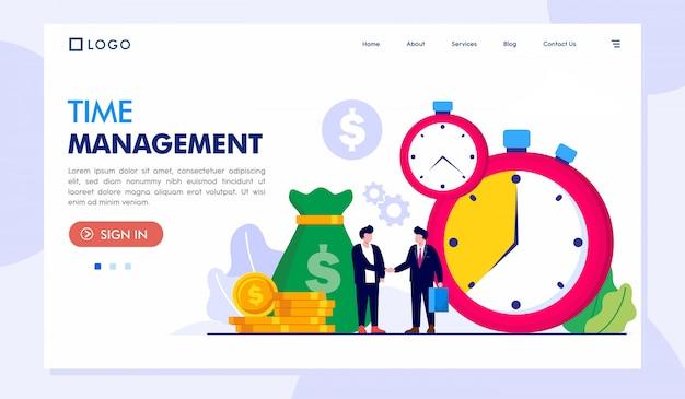 Illustration du site web de la page de destination de gestion du temps