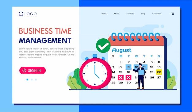 Illustration du site web de la page de destination de la gestion de temps métier
