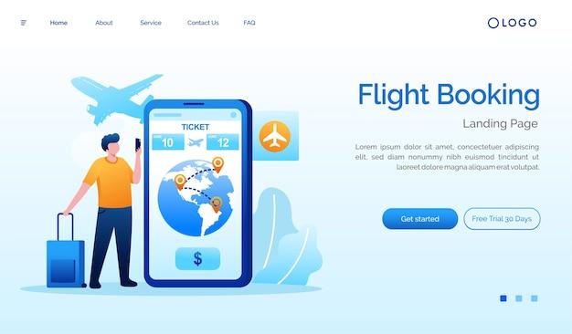Illustration du site web de la page de destination de la réservation de vol