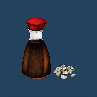 Illustration du soja et de la sauce