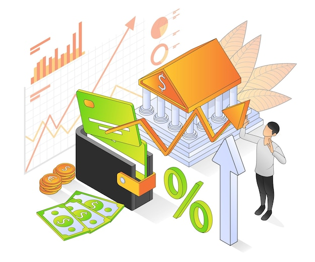 Illustration du style isométrique vectoriel premium sur la banque et la finance avec un personnage
