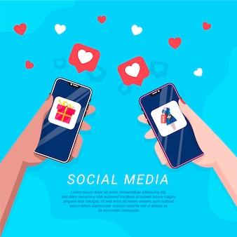 Illustration du téléphone mobile de marketing des médias sociaux