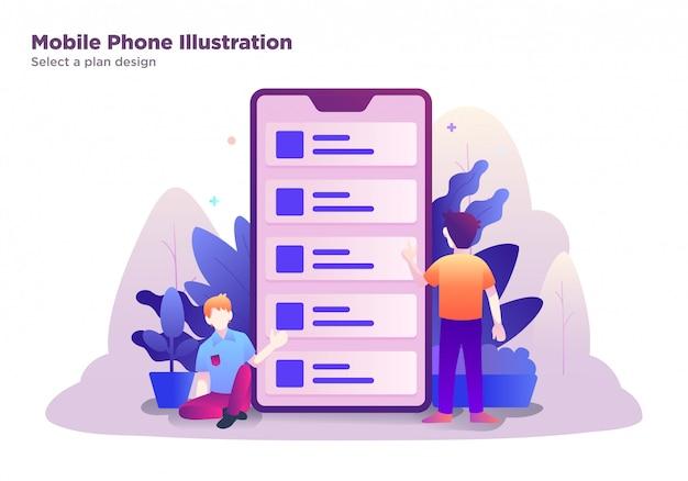 Illustration du téléphone mobile, sélectionnez un modèle de plan