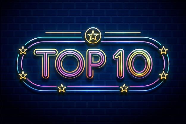 Illustration du top 10 des néons