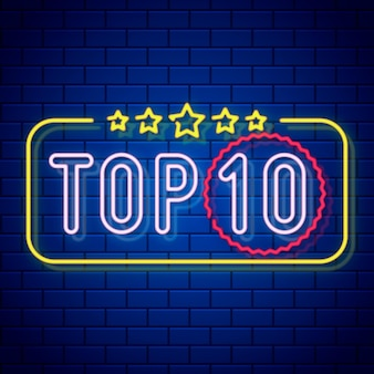 Illustration Du Top Dix Néon Vecteur Premium