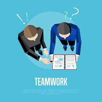 Illustration du travail d'équipe. groupe de personnes de la vue de dessus